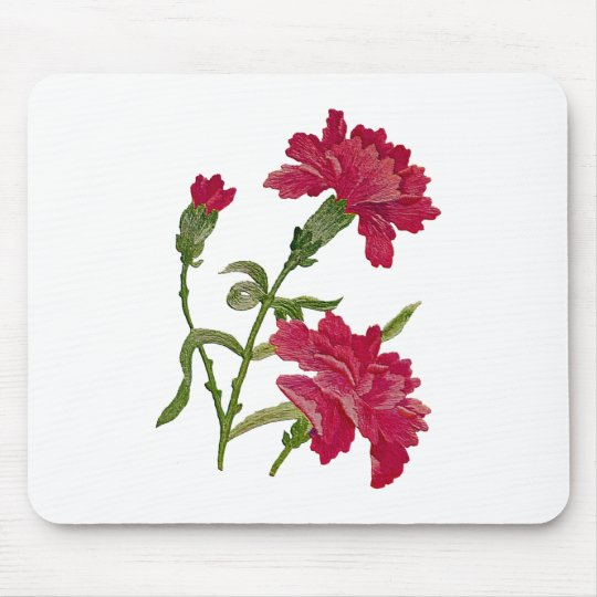 Faux Embroidered Red Carnations Mouse Pad