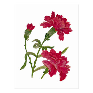 Faux Embroidered Red Carnations Postcard