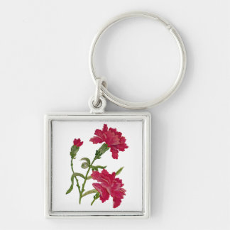 Faux Embroidered Red Carnations Silver-Colored Square Keychain