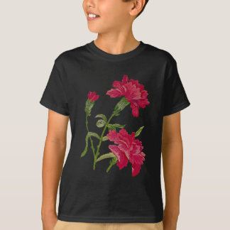 Faux Embroidered Red Carnations T-Shirt