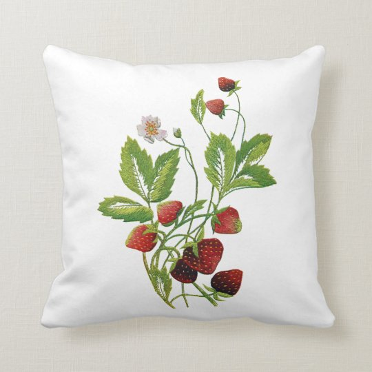 Faux Embroidered Strawberry Pillow Zazzle Com
