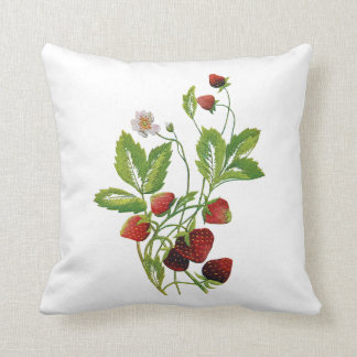 Faux Embroidered Strawberry Pillow