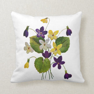 Faux Embroidery - A Bunch of Violets Throw Pillow