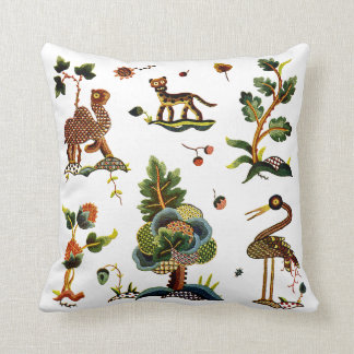 Faux Embroidery - Castlemaine Jacobean Crewel Throw Pillow