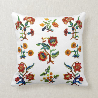Faux Embroidery - Monmouth Crewel Embroidery Throw Pillow