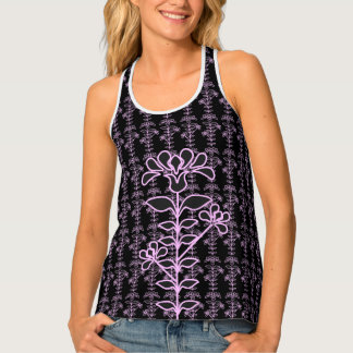 Faux Embroidery Style Flowers Dark Floral Lace Tank Top