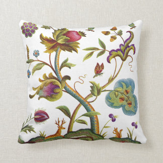 Faux Embroidery - Tree Of Life Jacobean Crewel Throw Pillow