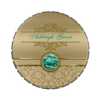 Faux Emerald Gemstone Metallic Shiny Gold Damask Jelly Belly Candy Tins