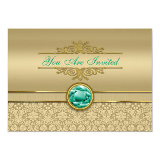 Faux Emerald Gemstone Metallic Shiny Gold Damask Card