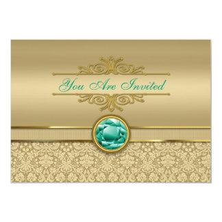 Faux Emerald Gemstone Metallic Shiny Gold Damask Card