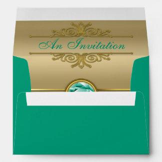 Faux Emerald Gemstone Metallic Shiny Gold Damask Envelopes