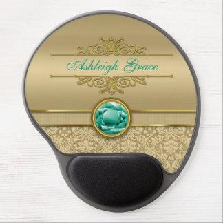 Faux Emerald Gemstone Metallic Shiny Gold Damask Gel Mouse Pad