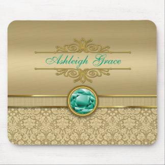 Faux Emerald Gemstone Metallic Shiny Gold Damask Mouse Pad