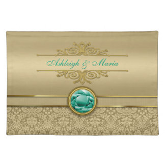 Faux Emerald Gemstone Metallic Shiny Gold Damask Placemats