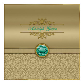Faux Emerald Gemstone Metallic Shiny Gold Damask Poster
