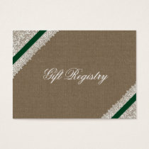 FAUX emerald green burlap Gift registry  Cards