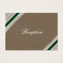 FAUX emerald green burlap wedding Reception Cards