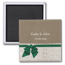FAUX emerald green burlap wedding save the date Magnet