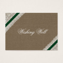 FAUX emerald green burlap wishing well cards