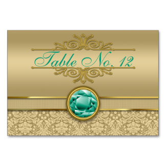 Faux Emerald Green Gemstone Metallic Gold Damask Card