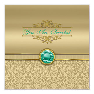 Faux Emerald Green Gemstone Metallic Gold Damask Card