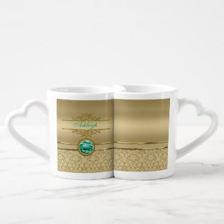 Faux Emerald Green Gemstone Metallic Gold Damask Couples' Coffee Mug Set