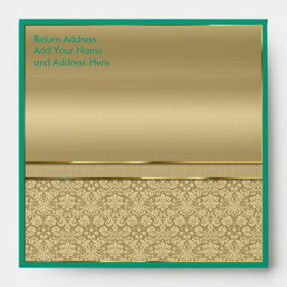 Faux Emerald Green Gemstone Metallic Gold Damask Envelope