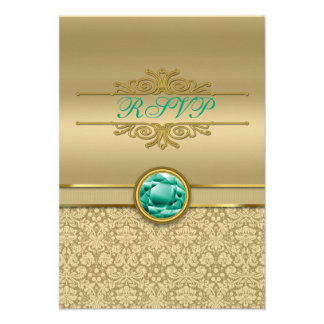 Faux Emerald Green Gemstone Metallic Gold Damask Personalized Invite
