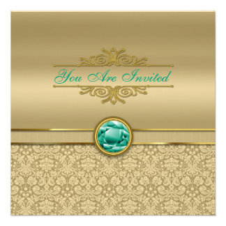 Faux Emerald Green Gemstone Metallic Gold Damask Personalized Announcements