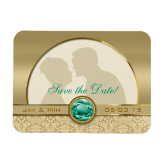 Faux Emerald Green Gemstone Metallic Gold Damask Magnet