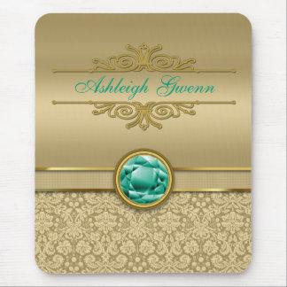 Faux Emerald Green Gemstone Metallic Gold Damask Mouse Pad