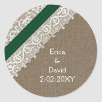 FAUX emerald green lace and burlap , wedding seals