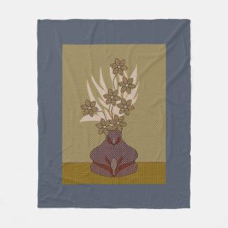 Faux Fabric Appliqué Flower And Vase Fleece Blanket