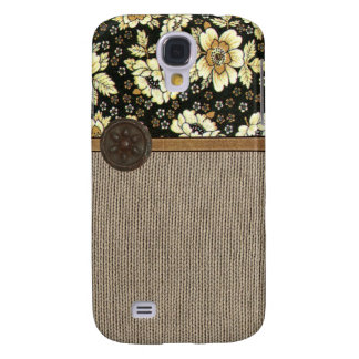 Faux Fabric Look with Rusty Button Galaxy S4 Cover