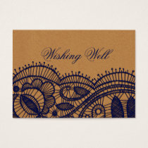 FAUX Faux Recycle Paper, lace wedding wishing well Business Card