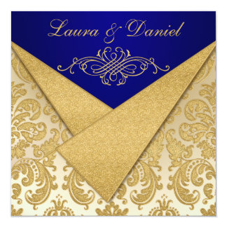 "FAUX FLAPS Blue, Gold Damask Reception Invite 5.25"" Square Invitation Card"