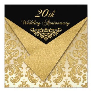 FAUX Flaps Damask 20th Anniversary Invitation