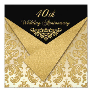 FAUX Flaps Damask 40th Anniversary Invitation
