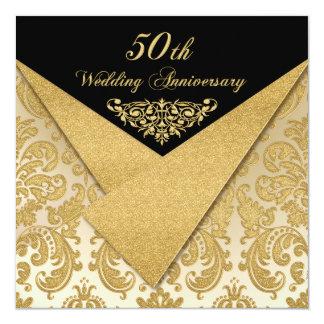 """FAUX Flaps Damask 50th Anniversary Invitation 2 5.25"""" Square Invitation Card"""