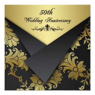 FAUX Flaps Floral 50th Anniversary Invitation