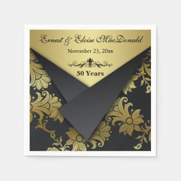 FAUX Flaps Floral 50th Wedding Anniversary Napkins