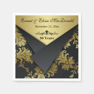 FAUX Flaps Floral 50th Wedding Anniversary Napkins Standard Cocktail Napkin