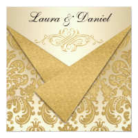 FAUX FLAPS Gold Damask Chandelier Reception Invite