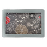 Faux floral textile with red, brown, white flowers belt buckle