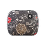 Faux floral textile with red, brown, white flowers jelly belly candy tins