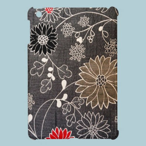 Faux floral textile with red, brown, white flowers case for the iPad mini