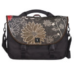 Faux floral textile with red, brown, white flowers laptop bags