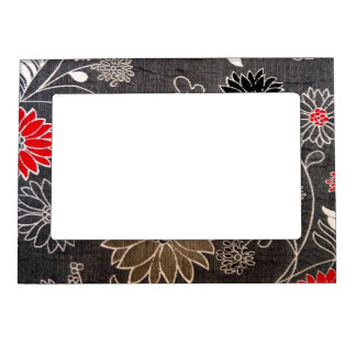 Faux floral textile with red brown white flowers magnetic picture frame