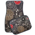 Faux floral textile with red, brown, white flowers floor mat