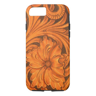 Faux Floral Tooled Leather Saddle iPhone 7 Case